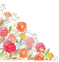 Floral border Isolated roses and wild vector