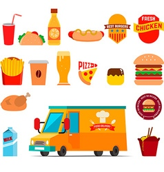 Food delivery Food truck vector
