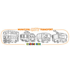 funny small city transport with eyes coloring book vector image