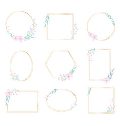 geometric golden frame with decorative watercolor vector image