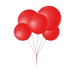 Group of flying round red balloons vector