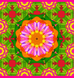 hand-drawn colored mandala on a green orange and vector image