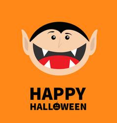 happy halloween pumpkin text count dracula head vector image