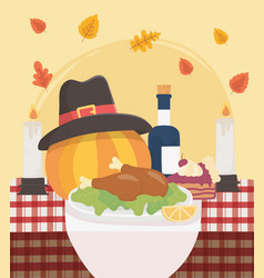 happy thanksgiving baked turkey pumpkin hat wine vector image