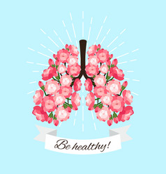 healthy blooming lungs vector image