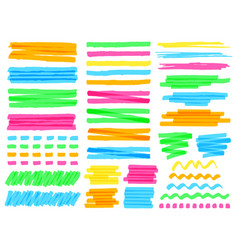 highlight marker lines colorful doodle highlight vector image