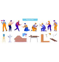 House repair and renovation flat vector