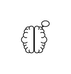 human brain talk bubble idea icon line style vector image