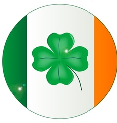 Irish Flag With Lucky Shamrock Button vector