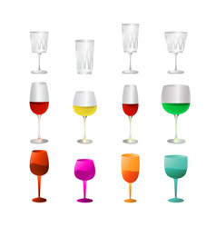 isolated colorful glass goblets vector image