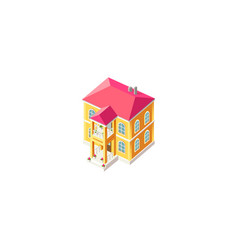 Isometric facade yellow house vector