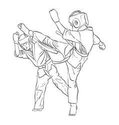 Karate fight two boys vector