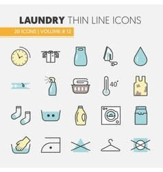 Laundry Service Thin Line Icons Set vector image