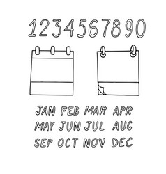 Leaflets numbers month names hand drawn set in vector