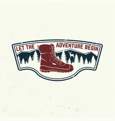 let adventure begin slogan summer camp vector image