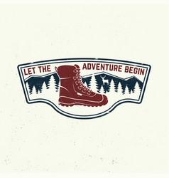 let adventure begin slogan summer camp vector image