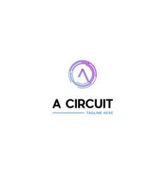 Letter a circuit dots logo design vector
