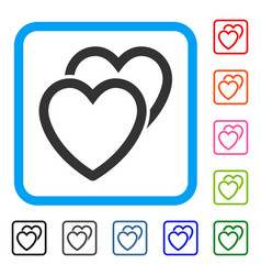 love hearts framed icon vector image