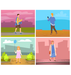 man and woman walking in city leisure vector image