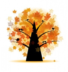 Maple tree autumn leaf fall vector
