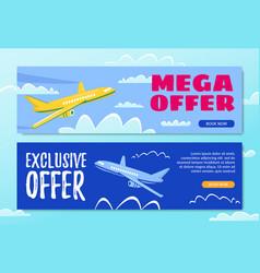 Mega offer exclusive offer book now flyer sky vector