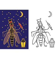 Mosquito with flashlight night vector