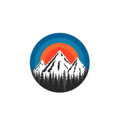 Mountain logo round shape snow-capped peaks rocks vector