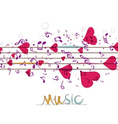 Music background with notes and hearts vector