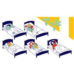 nap time in kindergarten group little girls vector image