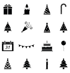 new year icon set vector image
