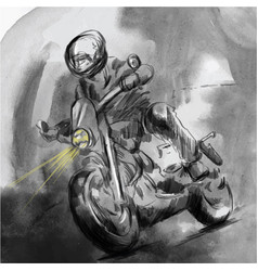 on the highway motorcycle rider - an hand drawn vector image