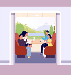 people in train men and women travelling train vector image