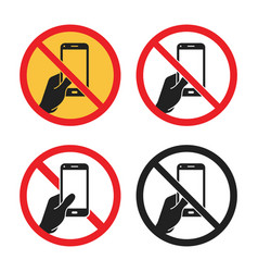 Phone use is prohibited sign no smartphone icon vector