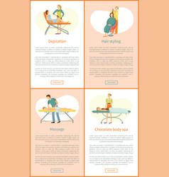 Procedure in beauty salon cartoon banner sample vector