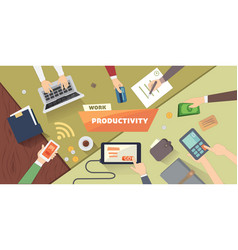 productive office workplace productivity business vector image
