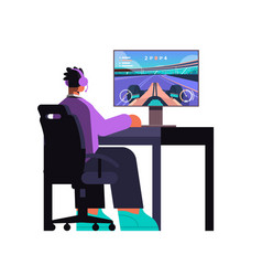 Professional virtual gamer playing in online video vector