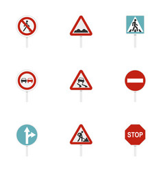 Road sign icons set flat style vector