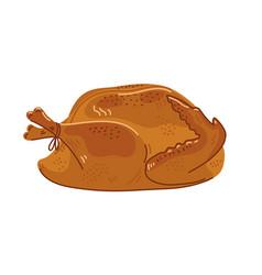 Roasted turkey cooked whole festive turkey on vector