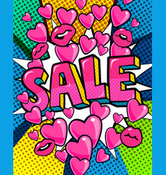 sale message in pop art style vector image