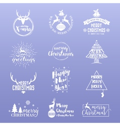 Set of merry christmas and happy new year logo vector