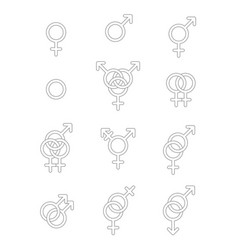 set of sexuality line icons vector image