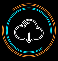 simple cloud download thin line icon vector image