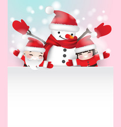 Snowman and two children behind white frame vector