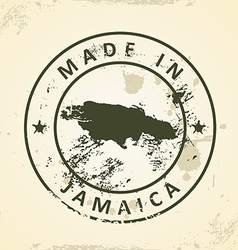 Stamp with map of Jamaica vector image