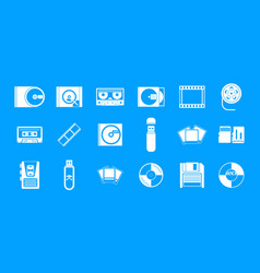 Storage information icon blue set vector