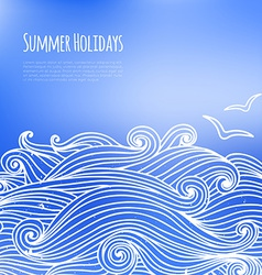 Summer background with sea waves vector