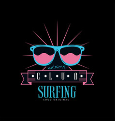 Surfing club logo original est 1978 design vector