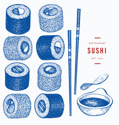 Sushi rolls hand drawn japanese cuisine elements vector