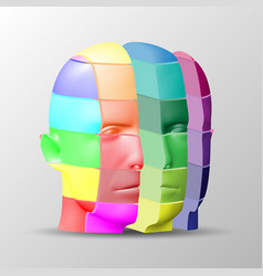 The human face consists of multi-colored square vector