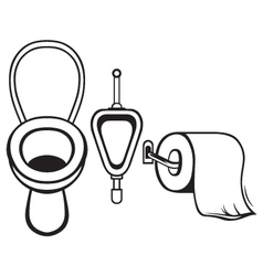 Toilet paper and toilet vector